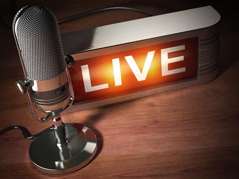 Vintage microphone with signboard live. Broadcasting radio station concept. 3d illustration